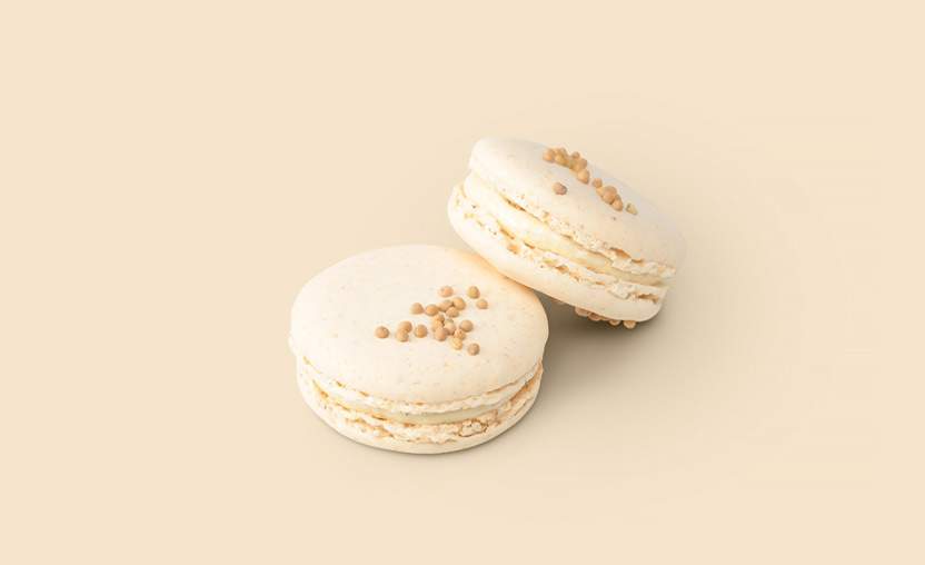 Macaron au camembert pain d'épice et graine de moutarde